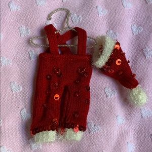 "7"" Santa Claus 🎅 outfit & hat on hanger ornament"